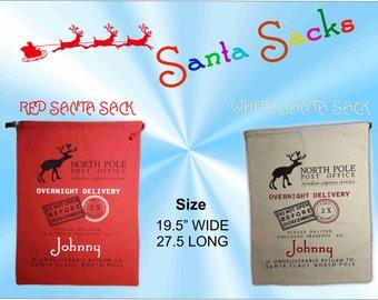 Christmas Santa Sack - Santa Sack - Christmas Sack - Christmas Santa Bag - Santa Sack Gift Bags - Santa Bag Personalized - Santa Sacks Blank