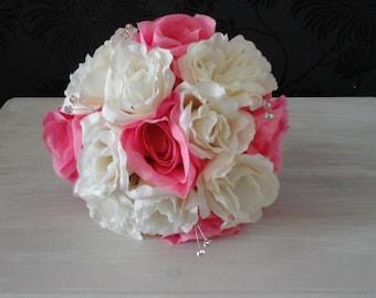 pink silk wedding bouquet rose bouquet pink rose bouquet pink ivory cream bouquet wedding bouquet brides bouquet  flower bouquet
