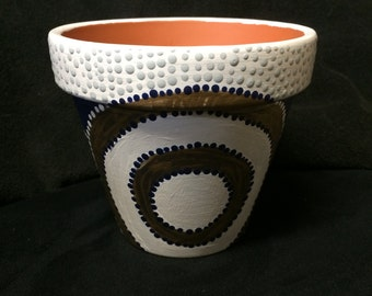 "6"" Watering Hole Aboriginal Flower Pot"