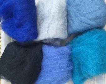 75% OFF! Wool Roving Carded Merino 6 Colors - Felting Spinning Felting Needle Felting Dry Felting Wet Felting Wool Painting 6B1