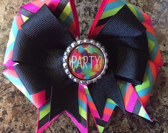 It's Party Time Chevron Hair Bow with Bottle Cap Center