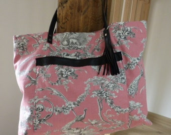 Large tote Toile de Jouy pink and grey