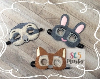 Zootopia Inspired Masks, Kids mask, kids costumes, Rabbit Mask, Sloth Mask, Fox Mask, Birthday Party Mask, Birthda