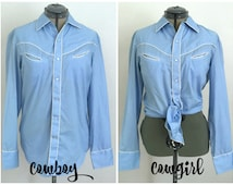 "Light Blue Western Shirt w/Pearl Snaps, Size M, 15"" - 15.5"", by Jandy Place, Cowboy Shirt, Cowgirl Shirt, Rockabilly"