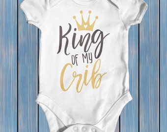 King Of My Crib Baby Bodysuit | Baby Boy Clothes | Baby Shower Gift | Funny Baby Bodysuit | Funny Baby Gift | Newborn Boy Coming Home Outfit