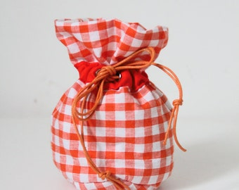 Small pouch Pompadour gingham orange
