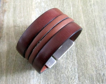"Bracelet brown leather man ""Cognac"" and Camel, clasp silver"