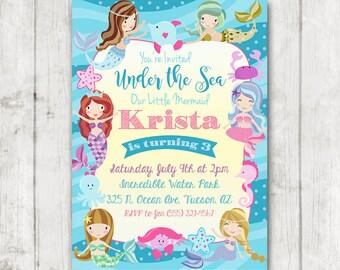 Mermaid Birthday Invitation, Little Mermaid Invitation, Mermaid invitation, Printable Mermaid Birthday Invitation, Under the Sea Bday Invite