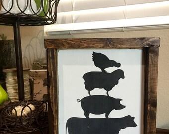 Farm animals- farmhouse- cow- pig- chicken- sheep- framed wood sign
