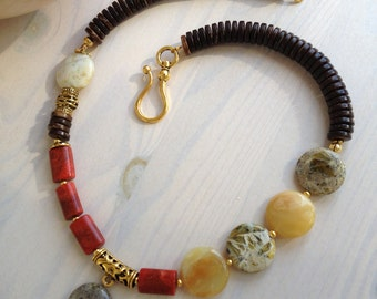 Opal, coral and buffalo horn necklace/ Beaded necklace/Unique jewelry/Gift for her/ Gemstone jewelry/ Stone necklace