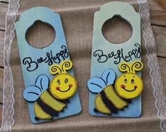 Hand Painted Bee Wooden Door Hangers-Set of Two