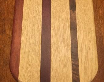 Oak Walnut Wenge Purple Heart 9x9 Cutting Board