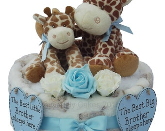 Sibling Baby Brother / Big Brother One Tier Nappy Cake Baby Shower Gift