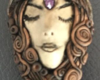 Goddess crystal clay pendant