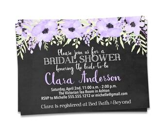 Chalkboard Bridal Shower Invitation, Purple Floral Bridal Shower Invitation, Purple Floral Bridal Shower Invite, Rustic Bridal Shower