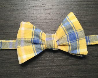 Blue, yellow and white plaid