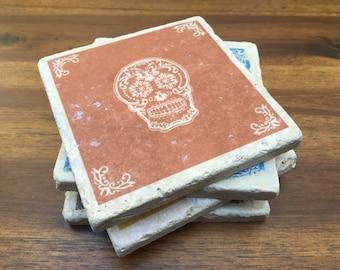 Sugar Skull Coaster Set