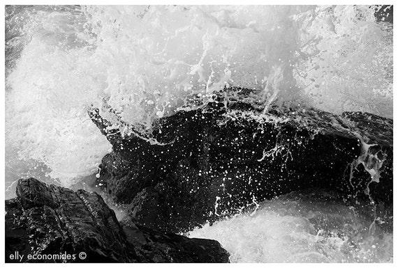 Landscape Photography, Seascape, Black and White Waves, Crashing Waves on Rocks, ocean, sea, ocean wall art, ocean waves, 044