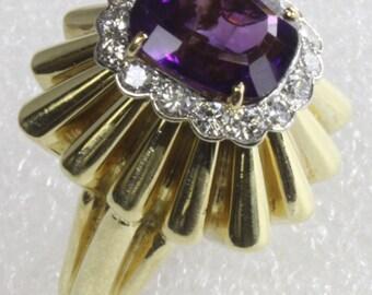 Amethyst Diamond Ring Heavy 18K Yellow Gold