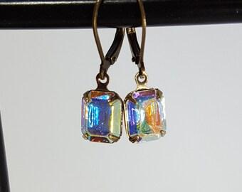 Crystal Aurora Borealis octagon leverback drops