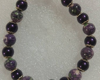 Purple and Floral Beaded Bracelet