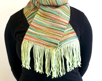 Silky soft handwoven alpaca and merino scarf in spring greens, pinks, blues and reds