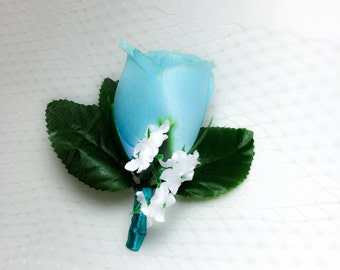 Turquoise/Light Blue Boutonniere