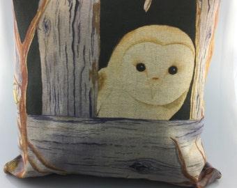 Handmade Original Watercolour Owl Cushion Cover
