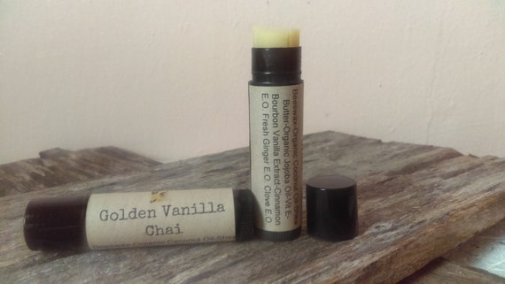 Golden Vanilla Chai/All Natural Lip Balm/Beeswax/Organic Virgin Coconut Oil/Organic Jojoba Oil/Bourbon Vanilla/Clove/Ginger/Cinnamon