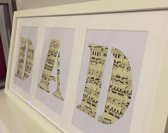 Fathers Day Gift - Dad Music Note Picture Frame
