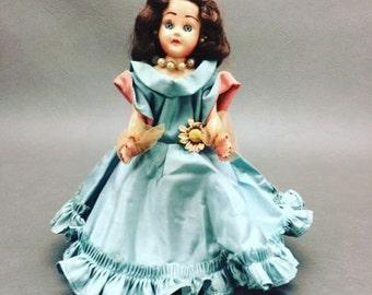 Vintage The Original Lingerie Lou Doll with Blue Dress Blinking Eyes