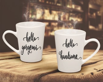 Hello Handsome-Hello Gorgeous-2 TWO Vinyl Decal-Couple-Wife-Husband-Yeti-Wedding-Canvas