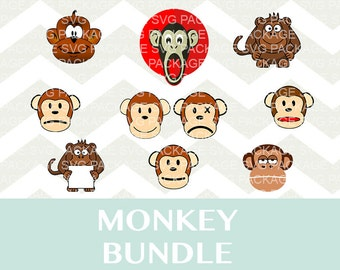 Monkey SVG Bundle, Monkey bundle, Monkey Clipart SVG, Png, DXF, Cutting Files Svg, Monkey clipart, Monkey clipart, Animal png, Animal bundle