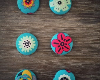 Set of 6 Floral Fabric Button Magnets 28mm