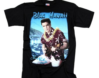 Vintage Elvis Presley t-shirt  with guitar printed  blue Hawaii  100 % cotton made in the usa L & XL new