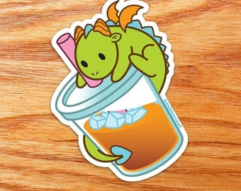 Vinyl Sticker - Iced Drink Cute Green Dragon! Waterproof, for Indoor or Outdoor Use!