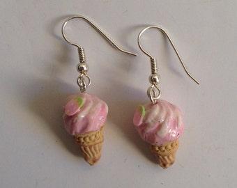 strawberry ice cream, cone earrings pink