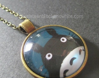 Blue Totoro Glass Pendant Necklace
