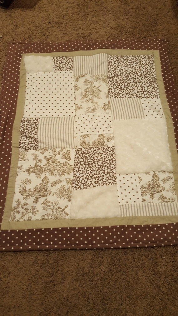 Brown baby quilt boy or girl