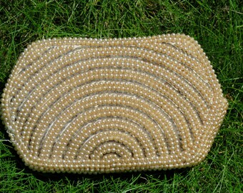 Vintage coin purse White/ivory/cream beaded
