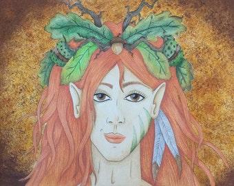 Lady autumn art print/poster