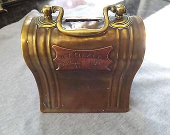 Vintage Handmade Brass & Copper Money Box 1932