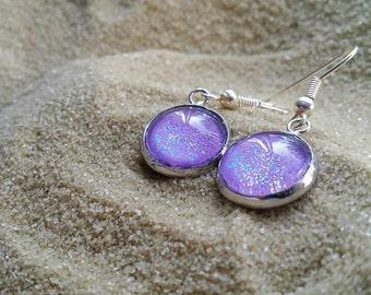 Purple Handpainted Earrings, Nail Polish Earrings, Glitter Earrings, Hypoallergenic, Sparkly Earrings, Nailpolish Earrings, Boho Earrings