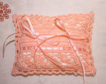 Peach ring-bearer pillow (pillow for rings)