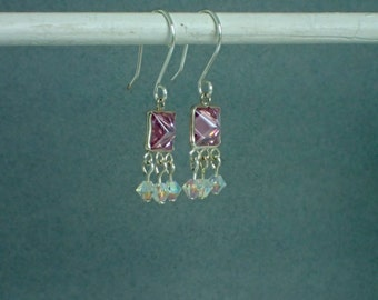 Sterling Silver and Pink Zirconia with Swarovski AB Crystal Beaded  Dangle Earrings