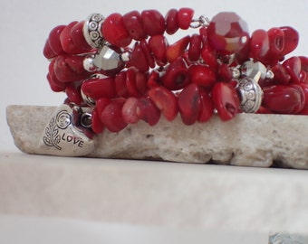 Red Coral Bamboo Gemstone and Silver Memory Wire Bracelet with Charm