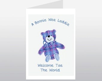 Scottish Baby Card Tartan Teddy Boy WWBA22