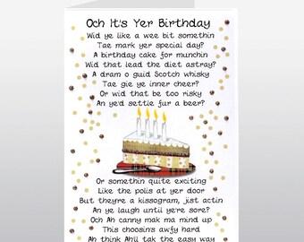 Scottish Birthday Card Cake Poem WWBI39