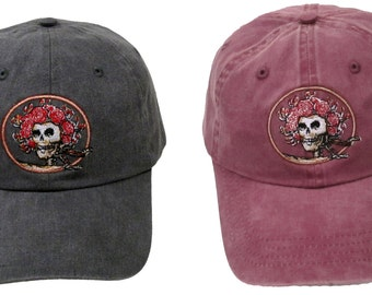 Grateful Dead Hat- Skull and Roses Embroidered Baseball Cap/ hat /Dead and Company/ Bertha