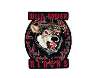 Wolf Fox Animal Wild Power Riders Motorcycle Club EOD Military Skull Embroidered Cloth Sew Iron On Patches Patch Appliques Biker For Jackets